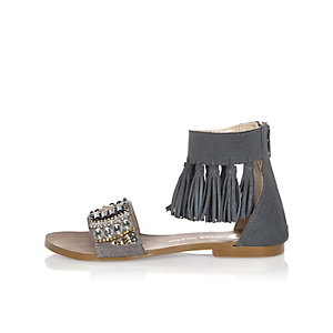 Girls blue tassel sandals