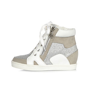 Girls white high top glitter wedge sneakers