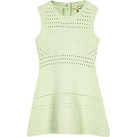 Mini girls green flared dress