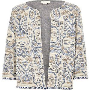 Girls blue jacquard boxy jacket