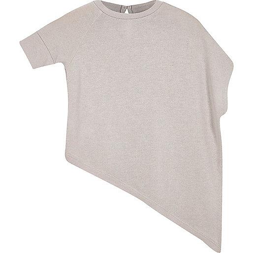 Mini girls grey asymmetric top