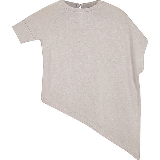Mini girls grey asymmetric top