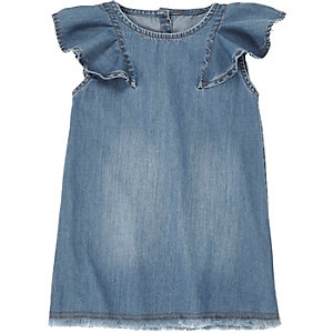 Mini girls denim shift dress