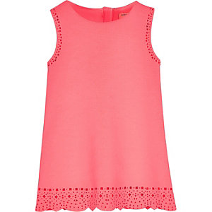 Mini girls pink  laser cut shift dress