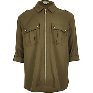 Girls military zip shirt