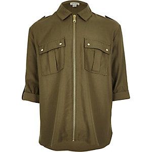 Chemise style militaire zippée pour fille