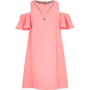 Girls pink cold shoulder dress