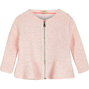 Mini girls pink peplum jacket