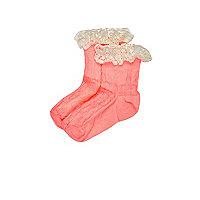Lot de chaussettes corail à volants mini fille