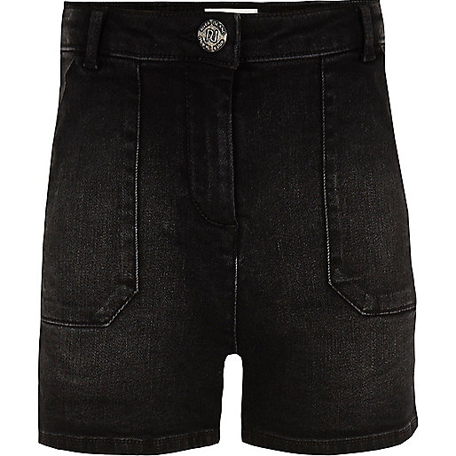 Girls black high waisted denim shorts