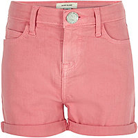 Girls pink denim shorts