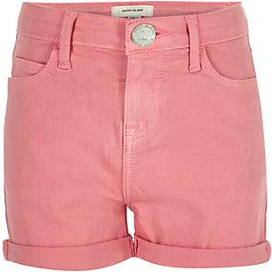Girls pink denim shorts