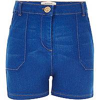 Girls blue high waisted denim shorts