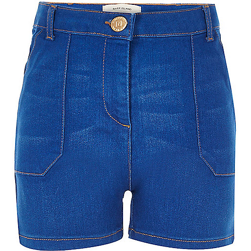 Girls blue high waisted denim shorts