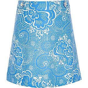 Girls blue floral print A-line skirt