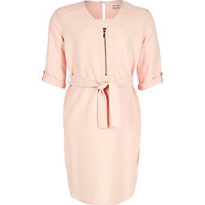 Girls pink zipped shirt dress
