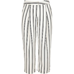 Girls white stripe cropped trousers