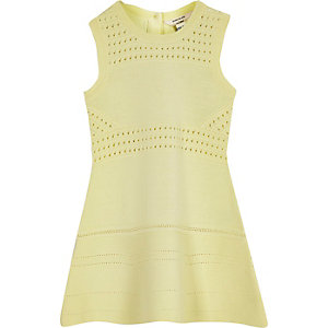 Mini girls yellow flared dress
