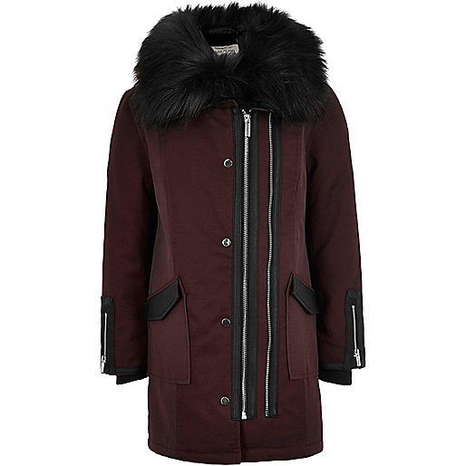 Girls red faux fur collar parka