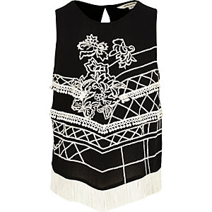Girls black embroidered tank top