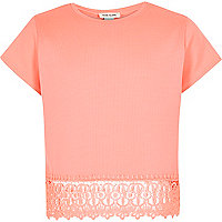 Girls orange lace hem t-shirt