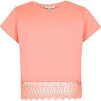 T-shirt orange à ourlet en dentelle pour fille