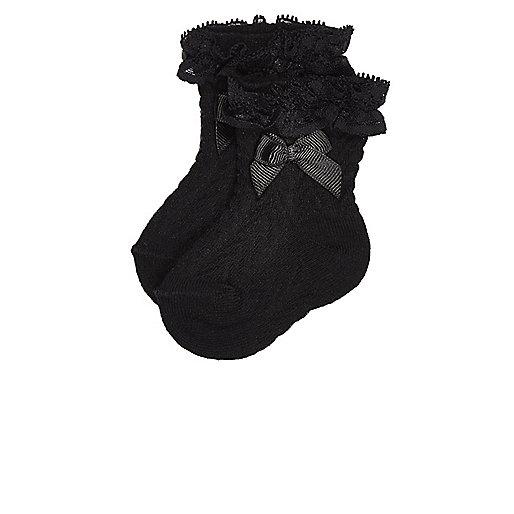 Mini girls black lace socks multipack