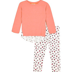 Mini girls pink top ladybird leggings outfit