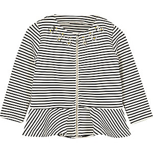 Mini girls black stripe peplum jacket