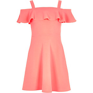 Girls pink frilly bardot dress