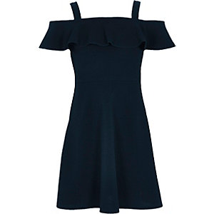 Girls navy frilly bardot dress