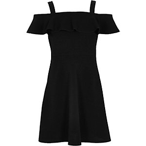Girls black frilly bardot dress
