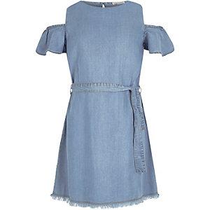 Girls blue denim cold shoulder dress