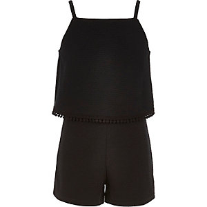 Girls black double layer romper