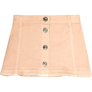 Mini girls pink button denim skirt