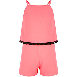 Girls pink double layer playsuit