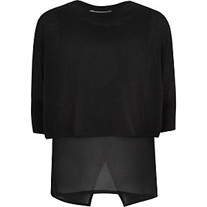 Girls black chiffon hem sweater