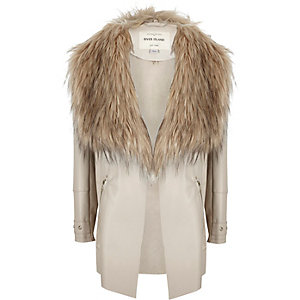 Girls beige waterfall jacket