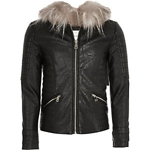 Girls black hooded biker jacket