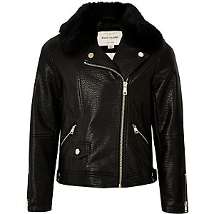 Girls black faux fur collar biker jacket