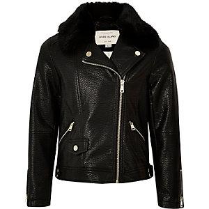 Girls black faux fur collar biker jacket