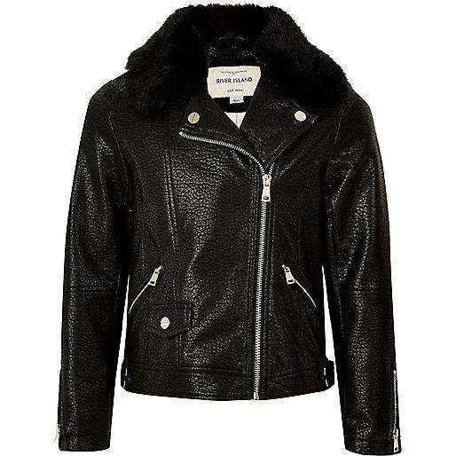 Schwarze Biker-Jacke mit Kunstfellkragen