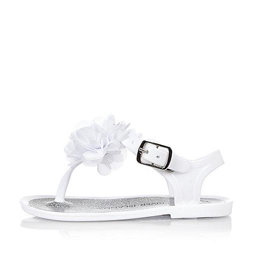 Mini girls white jelly sandals