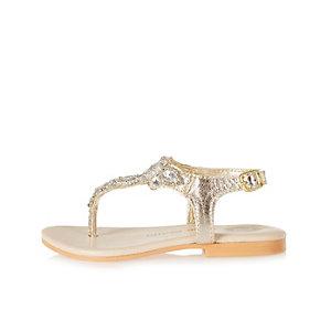 Mini girls gold embellished sandals