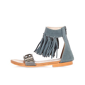Mini girls blue fringe sandals