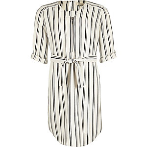 Girls white stripe zip shirt dress