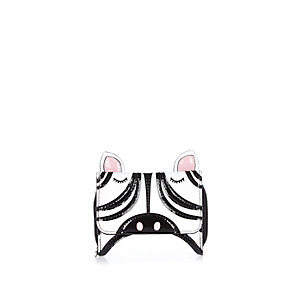 Girls white zebra trifold purse