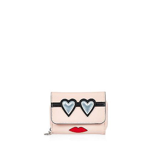 Girls light pink appliqué trifold purse