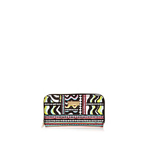 Girls white and black print purse