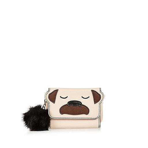 Girls light brown pug trifold purse